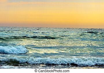 sea rise - mystic rising sun on the orange horizon ocean