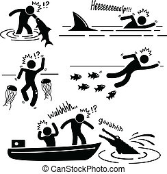 A set of human pictogram representing water (sea and river) animals (big fish, shark, jellyfish, piranha, and crocodile) attacking human.