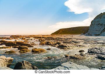 Sea rock beach over coast line, New Zealand natural ...