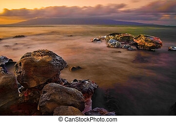 Sea Rocks and Fog Long Exposure - Large ocean sea rocks on ...