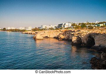 Sea rocky Caves in Ayia Napa, Cyprus, sunrise view
