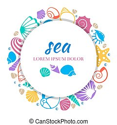 Sea round banner design - colorful seashells concept