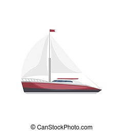 Sea sail yacht side view isolated icon