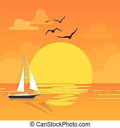 Sea Sailboat Sunset Bird Orange Background Vector Image