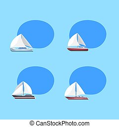 Sea sailboats isolated labels with space for text