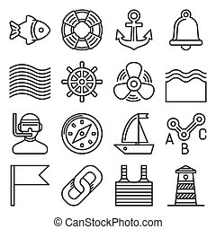 Sea Sailing Icons Set on White Background. Line Style Vector