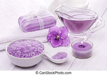 sea salt and essential oils, purple violet. spa - Spa still...