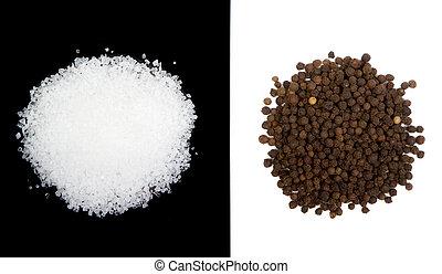 Sea salt and peppercorns isolated - Sea salt and pepercorns ...