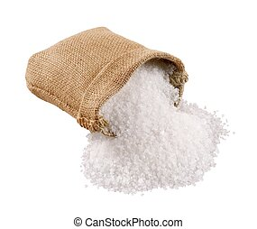 Sea salt coming out of a burlap sack - isolated