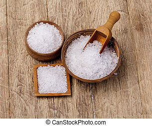 sea salt in wooden