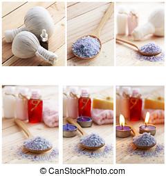 Sea salt,  spa concept collage