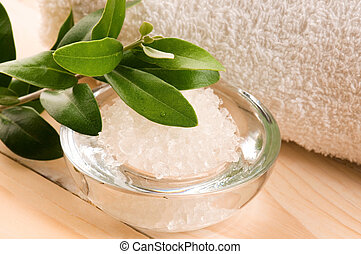 Sea Salt With Fresh Olive Branch. Spa And Wellness