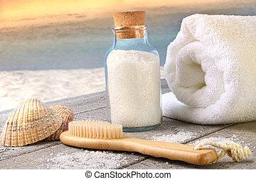Sea salt with towel at the beach