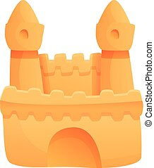 Sea sand castle icon, cartoon style