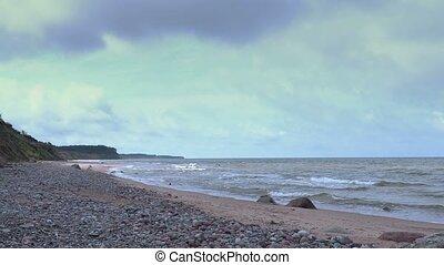 Sea scenery with steep coast