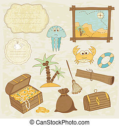 Sea scrapbook elements