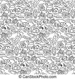 Sea seamless doodle pattern
