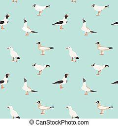 Seamless texture with flying seagulls. - Sea seamless...