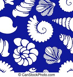 Sea seamless pattern with seashells doodle, vector...