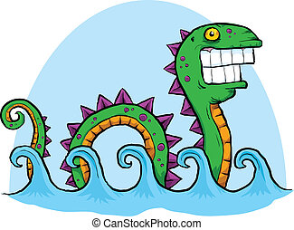 A cartoon sea serpent rolls along the waves in the sea.