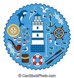 Sea set in a circular pattern