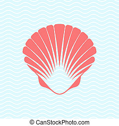 Sea shell - Red vector scallop seashell on blue marine...