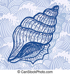Sea shell. Original hand drawn illustration in vintage style