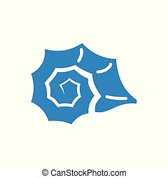 Sea Shell icon blue on white background for graphic and web design. Simple vector sign. Internet concept symbol for website button or mobile app.