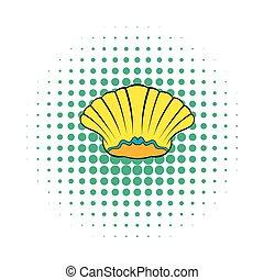 Sea shell icon, comics style