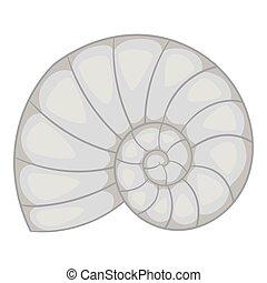 Sea shell icon, gray monochrome style