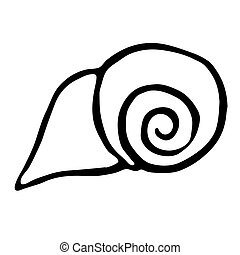 Sea shell. vector illustration. Drawing by hand.