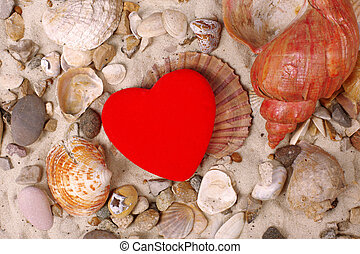 Sea Shells and red heart in sand