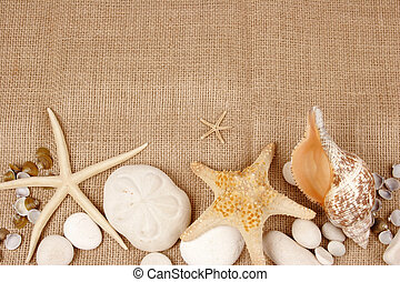 Sea shells and star fish with stones on burlap fabric postcard