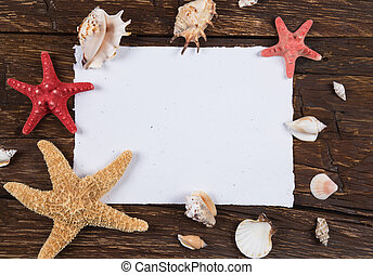 sea shells and starfish on wooden background