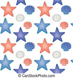 Sea shells and starfish seamless pattern on a transparent...