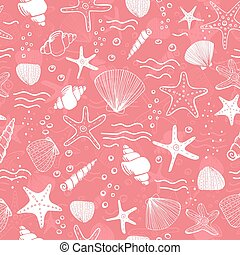 Sea shells, seastars and corals seamless background. Pink...