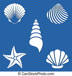 Set of white sea shells and starfish silhouettes