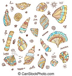 Sea shells set with funny design illustration