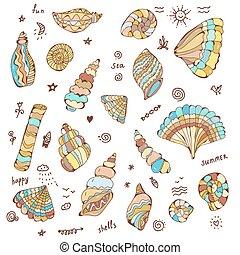 Sea shells set with funny design illustration