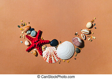 Sea shells, stones creative composition. Modern summer tropic beige clipart