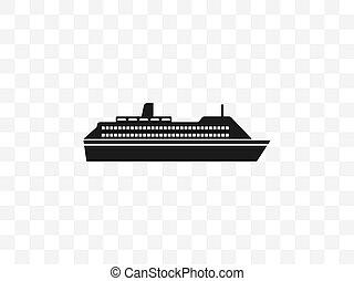 Sea, ship, cruise ship icon. Vector illustration, flat design.