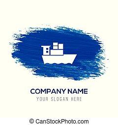 Sea ship Icon - Blue watercolor background