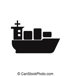 Sea ship with containers icon vector