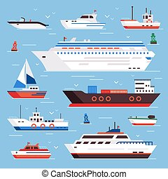 Sea ships. Cartoon boat powerboat cruise liner navy shipping ship and fishing boats isolated front view vector illustration