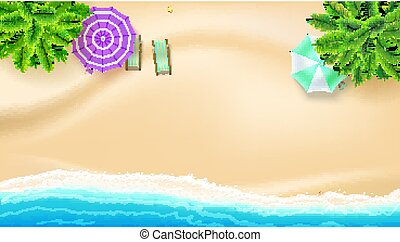 Sea shore and sandy beach, flat lay. Top view of sandy beach with summer accessories. Summer beach, palm, surf waves, sun umbrella, deck chairs. Vector background of best moments of summer.
