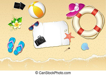 illustration of lifebouy, ball and slipper on sea beach