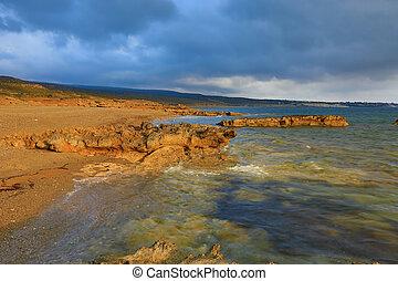 Sea shore on Akamas peninsula in Cyprus