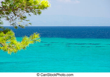 Sea shore under clear sky (ver without ship) - Blue sea...