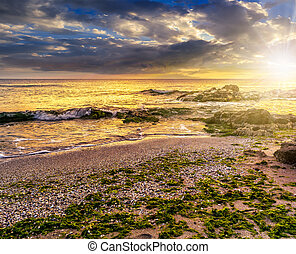 sea shore with stones after the storm at sunset