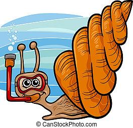 sea snail cartoon illustration